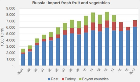 Russian fruit and vegetable imports partially recovered